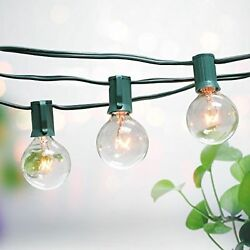 4x Outdoor Light String 100ft G50 Globe Patio String Lights - 125 Clear Bulb Set
