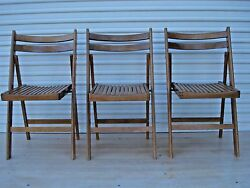 3 Vintage Solid Wood Slat Folding Chair Seat Portable Party Church Yard Picnic