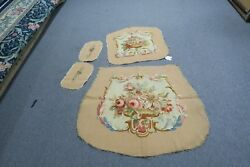Antique Textile Wool French Aubusson Tapestry Back & Seat Arm Chair Cover Set
