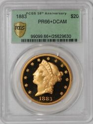 1883 $20 Gold Liberty Single Finest Proof Only PR66+ DCAM PCGS