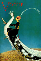 Vogue Peacock Lady Vintage Poster Repro Select Canvas or Paper FREE SHIPPING $16.85