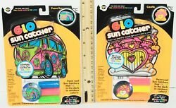 2 LOT CASTLE PEACE BUS GLO STAIN 4quot; SUNCATCHER NEON COLORS GLOW IN DARK 2010 $4.88