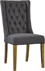 SIDE CHAIR DINING FURNITURE CLASSICS WING SLOPED PETITE PAIR LINEN NEW FC