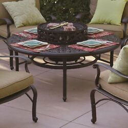 4 Person Outdoor Round Patio Set Fire Pit Table BBQ Grill Wood Burning Bronze