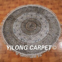 YILONG 6'x6' Antique Handknotted Silk Round Carpet Home Decor Indoor Rug M108A