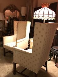 Hickory Chair 18th Century Wing Style Mahogany Frame Accent Chairs - Pair