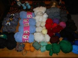 Mixed Lot Yarn New Skeins Bulky Wool Mohair & Misc Used Balls Nearly 4 lbs!