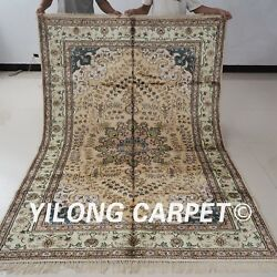 YILONG 5'x8' Handknotted Silk Persian Carpet Unique Indoor Area Rug YX163C