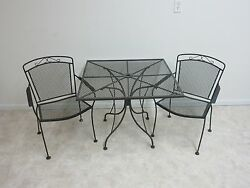 Vintage Iron Outdoor Patio Woodard Dining Table and 2 Chairs Porch
