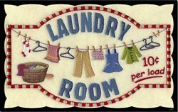 Laundry 10 cents Sign clothes ironing rustic wall decor plaque wooden $13.99