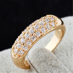 Women Exquisite Round Cut White Topaz 18K Yellow Gold Filled Ring Size 6 7 8 9
