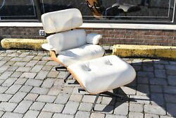 Herman Miller Eames Lounge Chair and Ottoman Classic Ivory Walnut Finish
