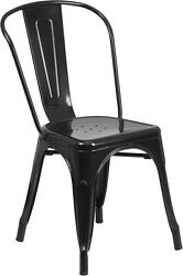 BULK DEAL 25 BLACK METAL INOUTDOOR  RESTAURANT CHAIR FURNITURE HOLD UP TO 350LB