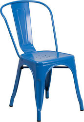 BULK DEAL 25 BLUE METAL INOUTDOOR RESTAURANT CHAIR FURNITURE HOLD UP TO 350LB