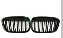 Car 2pcs Front Middle Grille Assembly Cover Fit For BMW X1 F48 2016 Matte Black