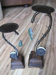Set Of 2 FLY FISHING Pillar Candle Holders Rustic Lodge Cabin Staging NewBox