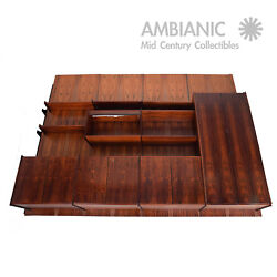 Danish Mid-Century Mod Rosewood Wall Unit 4 Panels Design