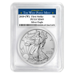 2018 (W) $1 American Silver Eagle PCGS MS69 West Point First Strike Label