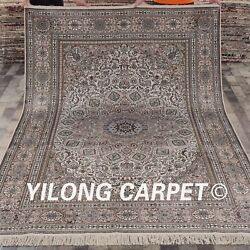 Yilong 6'x9' Hand Knotted Area Rug Dome Design Handmade Silk Carpet Indoor L161A