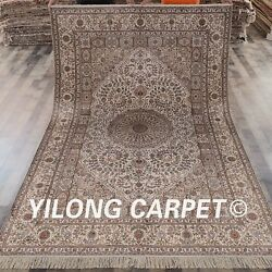 Yilong 6'x9 Floral Hand Knotted Area Rug HerizHandmade Silk Carpet Indoor L162A