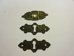 3 Antique Victorian Brass Hardware Drawer pulls Handles key escutcheon B