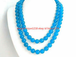 Natural 6mm South African Blue Topaz Gems Round Beads Necklace 35