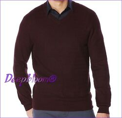 PERRY ELLIS MEN'S - KNIT SWEATER PULLOVER  - TEXTURED V NECK CHESTNUT LARGE NEW