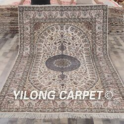 YILOG 6'x9' Persian Hand knotted Silk Carpet Medallion Living Room Area Rug 028M