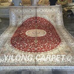 YILONG 10'x14' Top Hand Knotted Silk Carpets Huge Indoor handmade Area Rug W169C