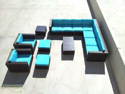 11pc OUTDOOR PATIO FURNITURE SET PE Wicker Rattan L-Shape Sofa Chairs Tables New