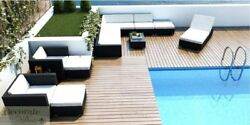 12pc OUTDOOR PATIO FURNITURE SET PE Wicker Rattan Sofa Lounger Chairs Tables New