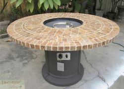 GAS FIREPLACE FIRE PIT OUTDOOR PORCELAIN MOSAIC TILE Lava Rocks 48
