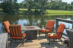 5-Piece Tres Motion Cast Aluminum Patio Chair and Gas Fire Pit Outdoor Furniture