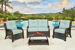CHELSEA 4-Piece Cappuccino Wicker Patio Loveseat Chairs & Table Furniture Set