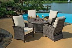 5-Piece Portico Wicker Patio Chair and Cast Aluminum Gas Fire Pit Outdoor Furnit