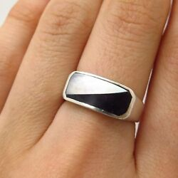 925 Sterling Silver Real Mother-Of-Pearl Black Onyx Gem Wide Ring Size 7