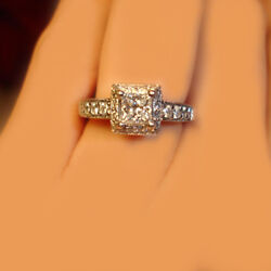 GIA Certified Princess Cut Diamond Engagement Vintage Inspired Ring 2.10 CTW