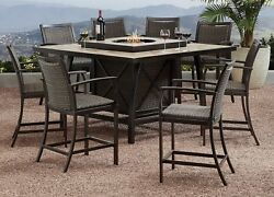 Outdoor Furniture Bar Height Dining Set Fireplace Set 9 pc Agio Denver  Fire