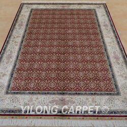 YILONG 6'x9' Persian Silk Area Rug Hand Knotted Indoor Carpet Handmade 0704