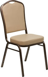LOT OF 60 CROWN BACK STACKING BANQUET CHAIRS WITH TAN VINYL & COPPER VEIN FRAME