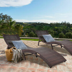 2 PCS Mix Brown Folding Patio Rattan Chaise Lounge Chair Outdoor Furniture Pool