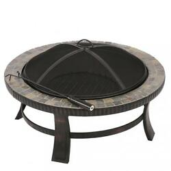 New 34-Inch Natural Stone Fire Pit with Copper Accents Garden Backyard Firepit