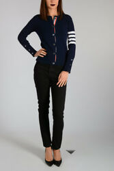 THOM BROWNE New Woman Dark Blue Cashmere Cardigan Original NWT