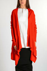 RICK OWENS New Woman Red Cashmere Cardigan Sweater Made in Italy