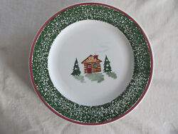 Tre Ci Cabin Christmas-Made in Italy -CabinTrees Green-Dinner Plate(s)- 6 Avail