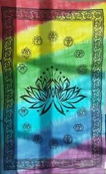 Tapestry Bedspread LOTUS CHAKRA Tie Dye Multi 72quot; x 108quot; Use on Bed Wall etc $20.58