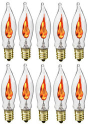 Box of 10 Flicker Flame Light Bulbs E12 Candelabra Base 3 watt (#A101) $9.99
