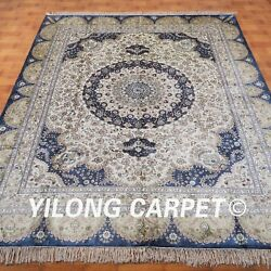 YILONG 8'x10' Handknotted Silk Persian Carpet Dining Room Indoor Decor Rug M033A