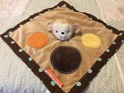 LITTLE MISS MATCHED DOT BROWN MONKEY LOVEY SECURITY BLANKET