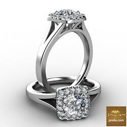 1.3ctw Halo Split Shank Cathedral Round Diamond Engagement Ring GIA F-VVS2  Gold